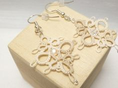Tatted Lace Earrings with glass and crystal in off white -Decadence in shades of cream MTO