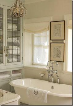 Small Bathroom,  Julie Charbonneau, Interior Design/ deep windows, windowed shleves, faucets, tub. Love it all.