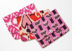Madeline Weinrib Ikat Lingerie Bags. Fashioned from the designer's signature Ikat and silk blockprint textiles and hand-sewn in New York, these quilted cases are detailed with silk lining and a mother-of-pearl button closure.