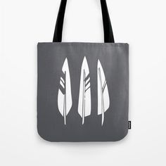 Feathers Tote Bag woodland tote bag grey bird by RiverOakStudio  #chaoscurators  #etsyfinds