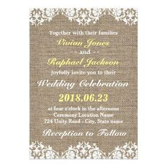 Rustic Lace and Burlap Wedding Invitation