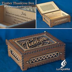 """Items similar to Two-tone timber """"Thankyou"""" box with timber hinge. on Etsy Creative Studio, Laser Engraving, Laser Cutting, Beams, Decorative Boxes, Handmade Gifts, Products, Kid Craft Gifts, Craft Gifts"""