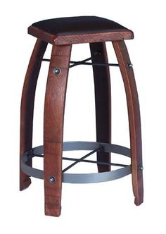 """24"""" Stave Stool with Chocolate Leather Seat in Rouge finish. Made from recently retired wine barrels. Some even bear the branding and vineyard handling markings as they were used in wine production."""