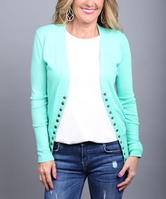 Look at this Coco and Main Mint Button-Up Cardigan - Women on #zulily today!