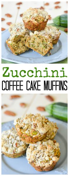 These Zucchini Coffee Cake Muffins are dense, moist and delicious, with a sweet and nutty streusel crumb topping. They're a great way to add some veggies to your breakfast! Healthy Dessert Recipes, Yummy Snacks, Brunch Recipes, Fun Desserts, Sweet Recipes, Healthy Snacks, Breakfast Recipes, Vegan Recipes, Snack Recipes