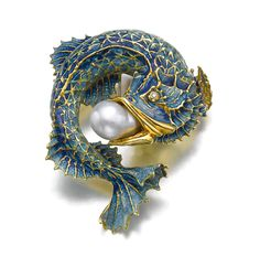 Wow... This Art Nouveau Enamel, Diamond and Pearl Fish Brooch is gorgeous!