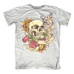 Love and DeathIllustration of skull and rose with tattoo design style. Ready to print on t-shirt. Custom Flags, Shirt Template, Tattoo Designs, Custom Design, Love, Mens Tops, T Shirt, Fashion Design, Style