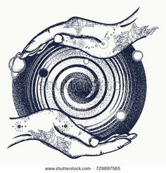 Magic hands and universe, black hole tattoo and t-shirt design. Universe symbol, space travel, house of mankind, Earth in space, galaxies, milky way