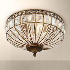 "Ibeza 15 1/2"" Wide 3-Light Crystal Mocha Ceiling Light"