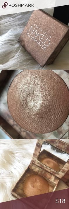 Urban Decay Naked Illuminated Authentic!  Bronzy, Gold Highlighter.  Used; Product in great condition.  Packing torn, however still holds its form & gets the job done.  Double layer packaging includes compact mirror and highlighter brush.  Offers considered. No trades! Urban Decay Makeup Luminizer