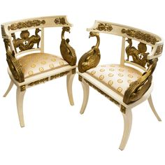 """Pair Painted & Giltwood """"Imperial Roman Style"""" Tub Chairs, Naples circa 1920   From a unique collection of antique and modern armchairs at https://www.1stdibs.com/furniture/seating/armchairs/"""