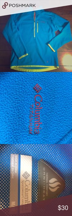 FLASH sale! Columbia titanium fleece pullover Men's size medium blue titanium fleece pullover. Light wear. Omni-heat. Layered look. Lined with neon green and red. Chest measures 21 inches, sleeves are 21 inches and this is 26 inches long. Lowest clearance. Offers will not be accepted. Bundle discount still applies. Columbia Shirts Sweatshirts & Hoodies