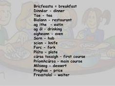 Bricfeasta = breakfast Dinnéar - dinner Tae - tea Bialann - restaurant ag ithe - eatin ag ól – drinking oigheann - oven So. Irish Gaelic Tattoo, Gaelic Words, Irish Language, Easy Peasy, Languages, Drinking, Oven, Restaurant, Teaching
