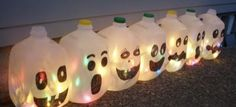 Milk Carton with lights-Upcycle Us just add hats to the tops... would be cool
