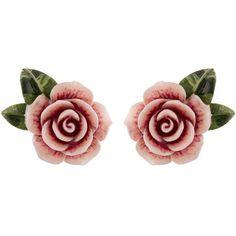 Dolce & Gabbana Resin Rose Earrings ($340) ❤ liked on Polyvore featuring jewelry, earrings, floral earrings, holiday jewelry, earring jewelry, evening jewelry and pink rose earrings