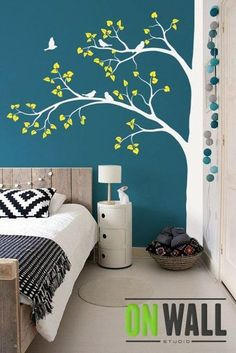 Large tree Nature vinyl wall tree decal Nursery wall decals vinyl wall stickers – Tree wall decal - Decoration For Home Bedroom Paint Design, Bedroom Designs, Bedroom Wall, Bedroom Decor, Bedroom Ideas, Bedroom Green, Bedroom Lighting, White Bedroom, Nursery Ideas