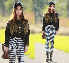Black Oversized Sweater/ Checkered Black  White Jeggings/ Rockin' Military Boots
