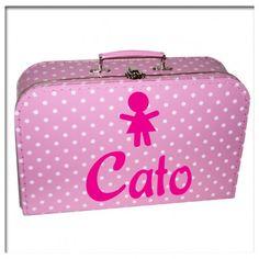 Kinderkoffertje Roze met witte stippen meisje | Saynomorewebshop.nl