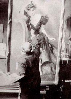 Giovanni Boldini nel suo studio mentre completa il ritratto di Madame Veil-Picard, 1887