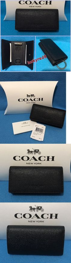 Key Chains Rings and Finders 45237: New Coach Crossgrain Leather 4 Ring Key Case Holder In Black F59107 $95 -> BUY IT NOW ONLY: $49.88 on eBay!