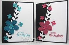 pair of handmade birthday cards ... black and white background with die cut border ... monochromatic flowers and ink ...  Stampin' Up!