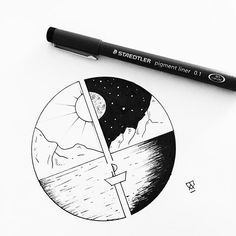 This one is looking for a home! Dm me if you're interested. #illustration #illustrator #design #sketch #drawing #draw #ink #pen #tattoo #tattoodesign #blackwork #dotwork #linework #landscape #mountains #night #stars #sun #art #artwork #artist #artistic #instaart #boat #minimal #blackworkers #blackandwhite #evasvartur #instafollow