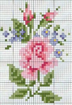 Counted cross stitch rose for a thermal tee shirt! Cross Stitch Love, Cross Stitch Flowers, Cross Stitch Charts, Cross Stitch Designs, Cross Stitch Patterns, Cross Stitching, Cross Stitch Embroidery, Embroidery Patterns, Loom Bands