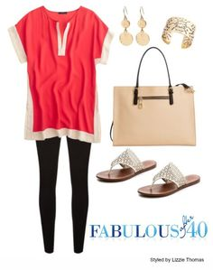 Silky color block tunic with leggings | Fabulous After 40