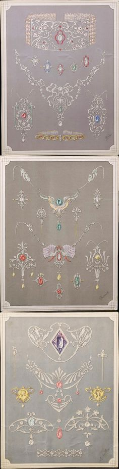 Group of Twenty-eight French Jewelry Illustrations, each book plate depicting Belle Epoque jewelry, measuring 10 x 7 3/4 in.
