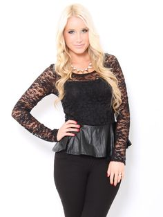 #Lace Faux Leather #Peplum Top