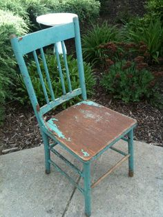 Vintage Teal Shabby Kitchen Chair ~ Chic Country French Cottage Garden