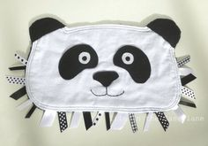 Panda Bear Ribbon Tag Baby Blankie