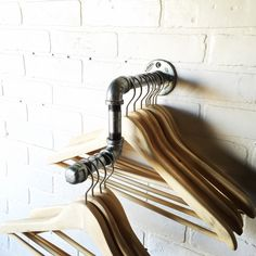 """Industrial Pipe Clothing Rack with Elbowed Display - 9"""" - Galvanized Steel by CoronaConceptsCo on Etsy https://www.etsy.com/listing/263284798/industrial-pipe-clothing-rack-with"""