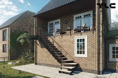 ASTA modular stairs used as a house entrance located on the floor of the building. Outside Stairs Design, Steel Stairs, Outdoor Stairs, House Entrance, Family Room, The Outsiders, New Homes, Flooring, Mansions