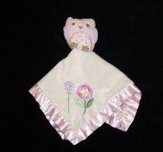 "Cuddle Time Pink White Owl Chevron Baby Blanket 28/"" x 32/"" Plush Soft New"