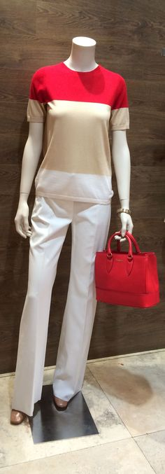 "SS 2014 Max Mara Studio label tricolour short sleeve wool/silk knit worn with Max Mara wide leg cotton trousers | Max Mara ""Perim"" nude leather sling back with gold heel 