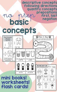 No Prep Basic Concepts: Quantity, Prepositions, Descriptions and more! Speech Therapy
