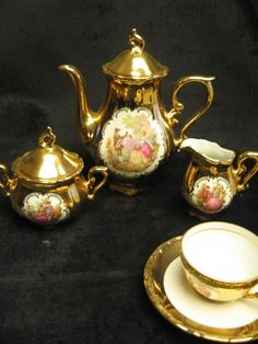 Stouffer bavaria hand painted roses tea set | Painted roses Bavaria and Teas : bavaria gold plated tea set - pezcame.com