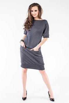 Sukienka z dresówki z poziomym zamkiem i kieszeniami SL2163G www.fajne-sukienki.pl Casual, Dresses, Fashion, Vestidos, Moda, Fashion Styles, Dress, Fashion Illustrations, Gown