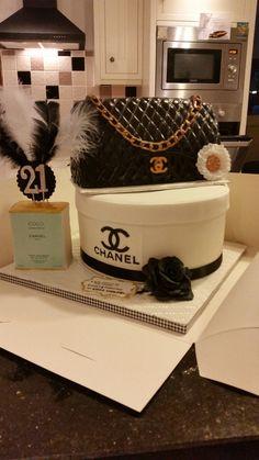 Chanel handbag, hatbox and perfume cake By Jacqui Brown