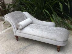 simple silver velvet Victorian lounge chair