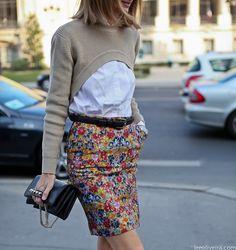 floral + short top