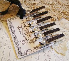 French Flair Black Glitter Mini Clothes Pin with Toile Flower 2 by Alyssabeths, via Flickr Glitter Eye, Glitter Hearts, Glitter Lipstick, Black Glitter, Glitter Spray Paint, Paperclip Crafts, Clothespin Magnets, Glitter Outfit, Glitter Jacket