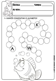 Atividade pronta sequência do alfabeto English Worksheets For Kindergarten, Alphabet Worksheets, Alphabet Activities, Preschool Worksheets, Kindergarten Worksheets, Preschool Activities, Kindergarten Test, Tracing Worksheets, Complete O Alfabeto