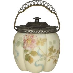 Mt Washington Smith Brothers ( Bros ) Floral Enameled Biscuit Jar Circa 1880