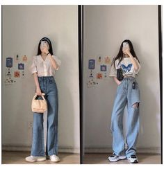 Korean Casual Outfits, Korean Outfit Street Styles, Retro Outfits, Cute Casual Outfits, Korean Girl Fashion, Korean Fashion Trends, Korean Street Fashion, Ulzzang Fashion, Kpop Fashion Outfits