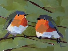 "Daily Paintworks - ""Two Robins no. 16 Painting"" - Original Fine Art for Sale - © Angela Moulton"
