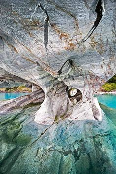 In the Marble Caverns of Lago Carrera, XI Region, Chilean Patagonia