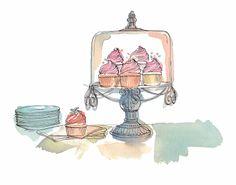 "More illustrations LINE BOTWIN ""girly illustrations "" Lucile Prache/Illustrations/Portfolio Birthday Clipart, Birthday Wishes, Cupcake Illustration, Illustration Art, Drawing Sketches, Drawings, Cupcake Art, Paper Cake, Food Illustrations"