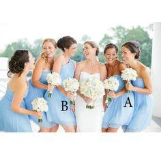 Mismatched Sky Blue Bridesmaid Dresses Floor Length pst0327